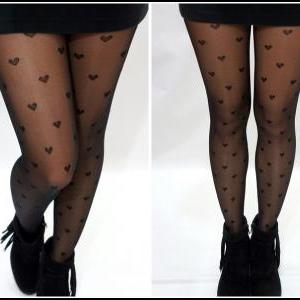 Black Heart Print Tights/ Stockings..