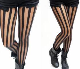 Vertical Striped Black Tights / Pantyhose