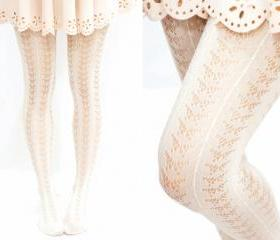 Lolita Butterfly Pattern Fishnet Tights -Creamy white