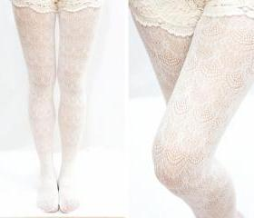 Fan Shape Lace Fishnet Tights - White
