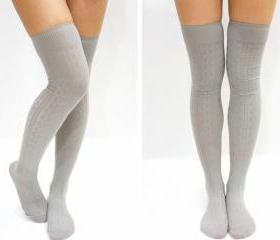 Simple Cable Knit Knee High Socks - Light Grey