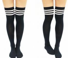 JK White Stripe Cotton Thigh High Socks - Black